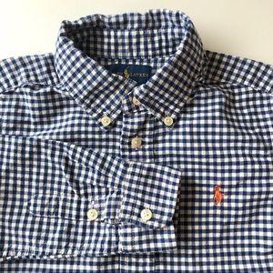 Ralph Lauren Navy Blue Gingham Check Button Shirt